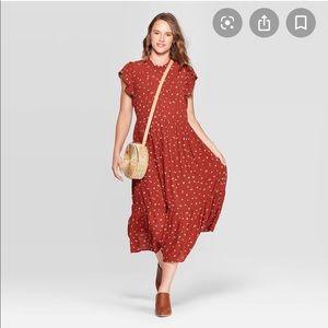Universal thread high crew neck floral midi dress
